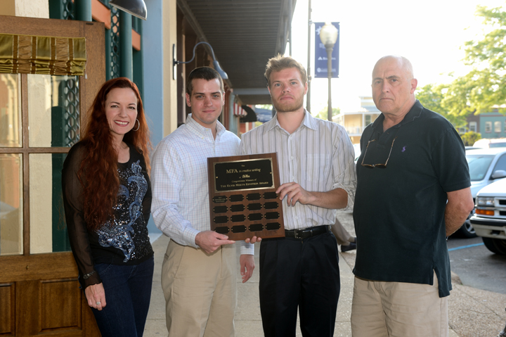 Professor Beth Ann Fennelly, winners Christopher Allen and Kevin Fitchett, and donor D.C. Berry