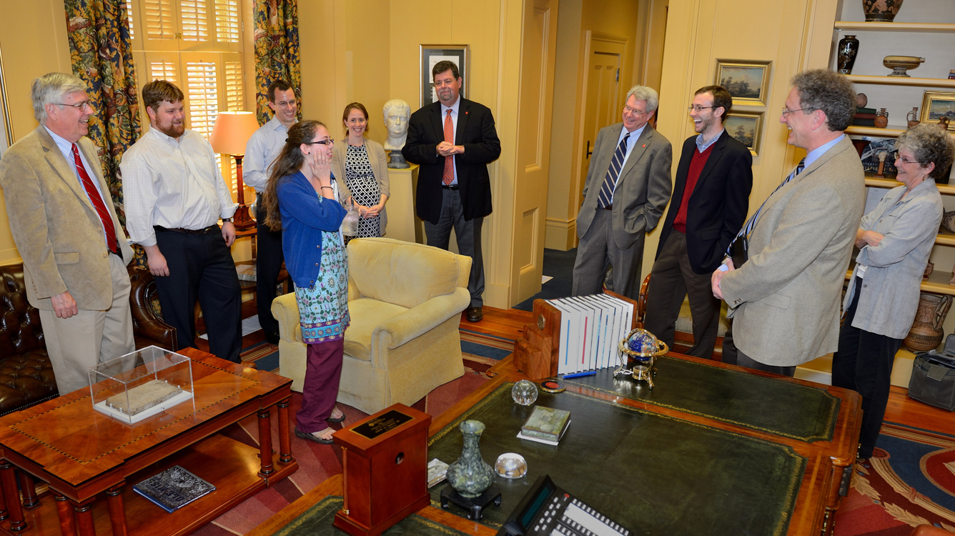 Taylor Cook (third from left) was shocked at the announcement she has received the Morris K. Udall Scholarship. Cook is the second University of Mississippi student to earn the honor. UM photo by Robert Jordan