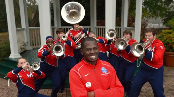 Chris Presley, a 2012 UM graduate and former drum major of the Pride of the South Marching Band, is named as an honoree for eight new band scholarships for polished brass players.