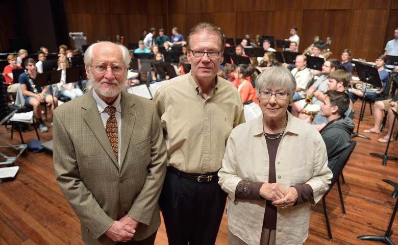 Dr. Charles Hubbert of Memphis, Tennessee, left, and wife Margaret Hubbert have given a lead gift to support an initiative to build band scholarships at the University of Mississippi. Director of University Bands David Willson, center, recently hosted the couple to hear one of the ensembles practice and then perform a concert.