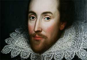 A detail of what is believed to be a portrait of William Shakespeare made when he was living, and only rediscovered in 2009. (LEFTERIS PITARAKIS/ASSOCIATED PRESS)