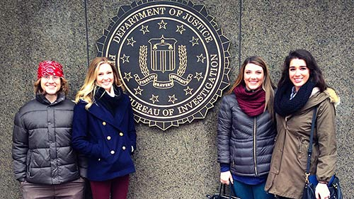 UM students (from left) Robert Lucas, Rachel Marsh, Jenna Campbell and Foy Stevenson visit the Federal Bureau of Investigations headquarters in Washington, D.C., in January. They met with numerous officials concerning environmental ethics issues as part of the UM Study USA program.