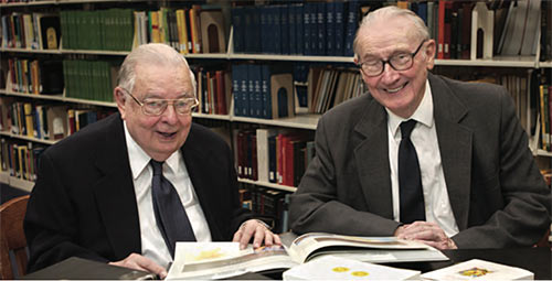 Beloved English professors, John Pilkington (left) and Charles Noyes devoted countless hours to the Friends of the Library's cause.
