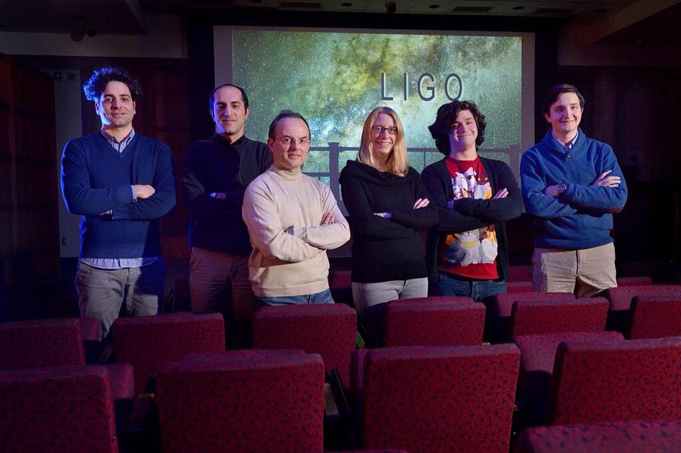 Members of the UM LIGO Team include (from left) Camillo Cocchieri, visiting scholar; Mohammad Afrough, graduate student; Marco Cavaglia associate professor of of physics and astronomy; Katherine Dooley, assistant professor of physics and astronomy; and Jared Wofford and Hunter Gabbard, both undergraduate research assistants. Photo by Robert Jordan/Communications