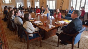 Chancellor Vitter talks with student leaders at a luncheon as part of the Flagship Forum. Photo by Kevin Bain/Ole Miss Communications