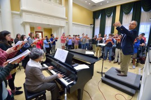 The UM Concert Singers are preparing for a performance at American Choral Directors Association convention in Chattanooga, Tennessee. Photo by Kevin Bain/Ole Miss Communications