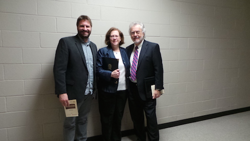 Matthew Graves, Julia Aubrey, and Bill Bugg (right) attend the film screening April 5, 2016. | Photo by Kate Meacham