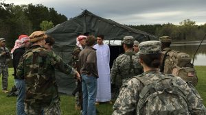 UM Arabic Language students teamed up ROTC cadets to help them sharpen their language and mediation skills. Photo by Rusty Woods