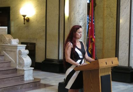 Beth Ann Fennelly speaks at the Mississippi State Capitol, August 10, 2016