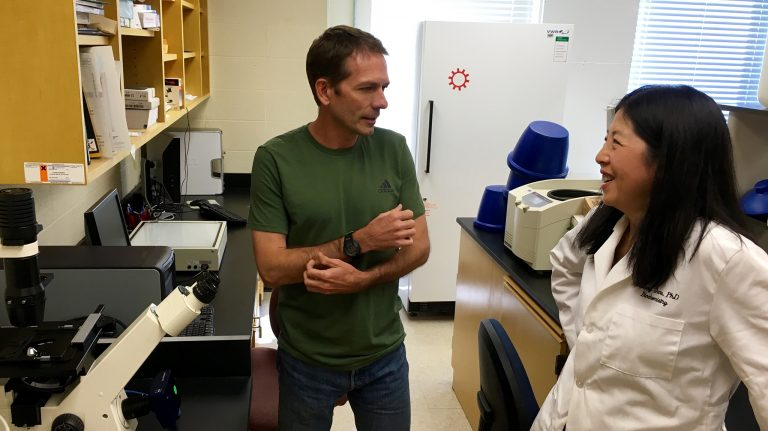 Biology professor Mika Jekabsons (left) and chemistry professor Yu-Dong Zhou discuss their breast cancer research in one of their laboratories. (Submitted photo)