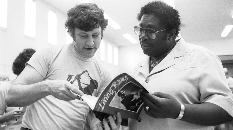 Bill Ferris (left) looks over a copy of Living Blues magazine with blues great B.B. King during a visit by King to the University of Mississippi in the 1980s, when Ferris was director of the Center for the Study of Southern Culture. Photo by Robert Jordan/Ole Miss Communications