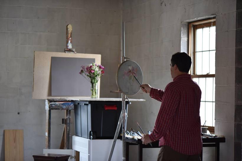 Philip R. Jackson in his studio