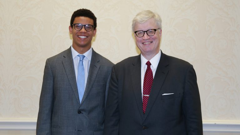 Austin Powell, UM Associated Student Body president, and John Czarnetzky, Ole Miss professor of law, were among those honored at the 30th annual Higher Education Appreciation Day- Working for Academic Excellence program in Jackson. Submitted photo