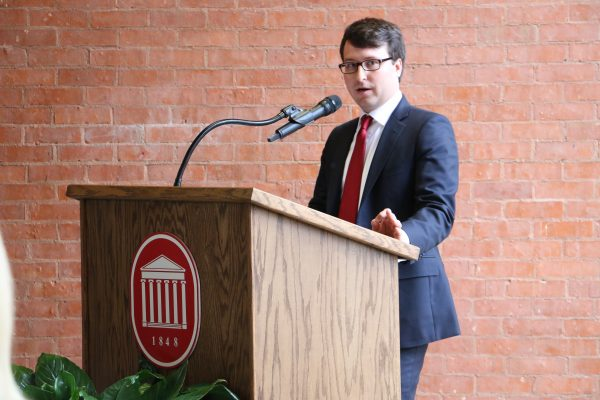 Dr. Marc Walker (BA biology '06), speaks at the Honors College building dedication on March 30, 2017. The Daily Mississippian photo