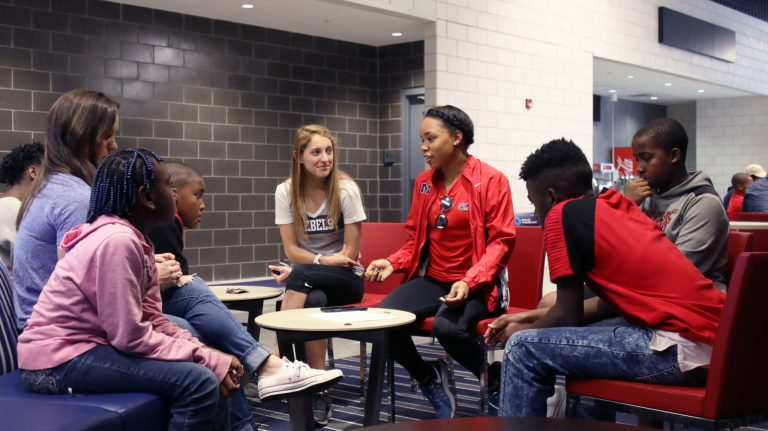 Ole Miss student-athletes mentor a group of fifth- to eighth-grade students from Quitman County Middle School during the weekend sessions on the UM campus.