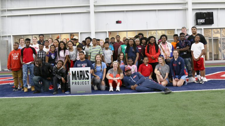 Middle school students from Quitman County visit the UM campus as part of a spring program that provides academic tutoring and activities with student-athletes and Ole Miss Campus Recreation.