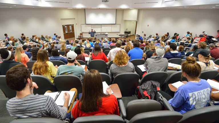 The PLATO program allows students in large lecture classes to get a personalized learning experience.Photo by Robert Jordan/Ole Miss Communications