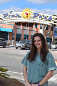 Meredith Brown enjoys time at a shopping mall during one of her many trips. Submitted photo