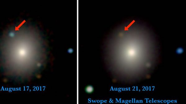 Swope and Magellan telescope optical and near-infrared images of the first optical counterpart to a gravitational wave source, SSS17a, in its galaxy, NGC 4993. The left image is from Aug. 17, 11 hours after the LIGO/Virgo detection of the gravitational wave source, and contains the first optical photons of a gravitational wave source. The right image is from four days later. SSS17a, which is the aftermath of a neutron star merger, is marked with a red arrow. On the first night, SSS17a was relatively bright and blue. In only a few days, it faded significantly and its color became much redder. These observations show that heavy elements like gold and platinum were created in the merger. Photos courtesy 1M2H/UC Santa Cruz and Carnegie Observatories/Ryan Foley