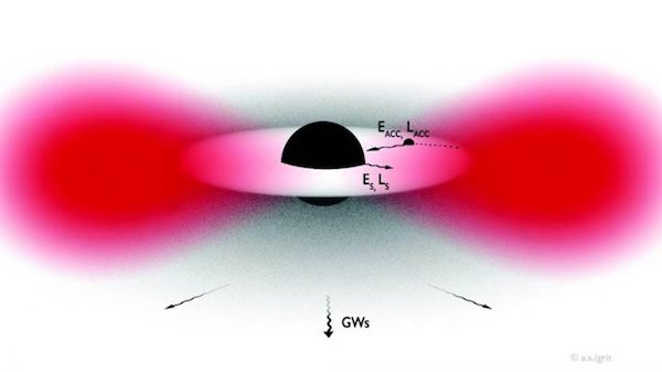 Schematic illustration of the cloud formed around a spinning black hole. The black hole loses energy E_S and angular momentum L_S through the growth of the cloud and emission of gravitational waves. Accretion of gas from the disk transports energy E_ACC and angular momentum L_ACC. The balance between these phenomena depends on the mass of the particles forming the cloud, and it determines whether the cloud can grow. Submitted graphic