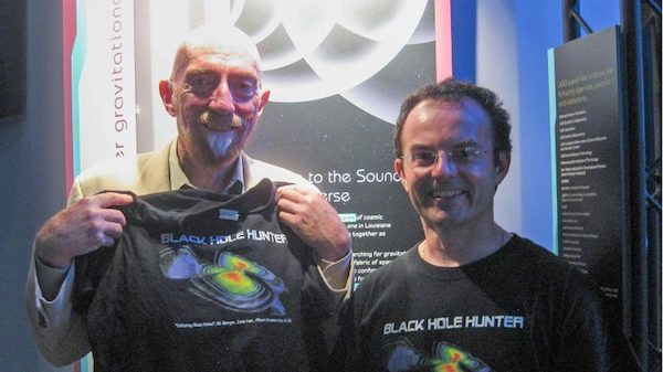 UM physics professor Marco Cavaglia, right, shares a T-shirt with Kip Thorne, one of three recipients of the 2017 Nobel Prize in physics. Submitted photo.