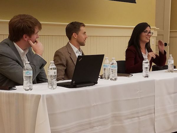 Three Croft alumni shared experiences from their professional life with current Croft students in our alumni panel. From right to left: Catherine Espinoza (B.A. 2010), Patrick Dogan (B.A. 2008), and Joel Fyke (B.A. 2005).
