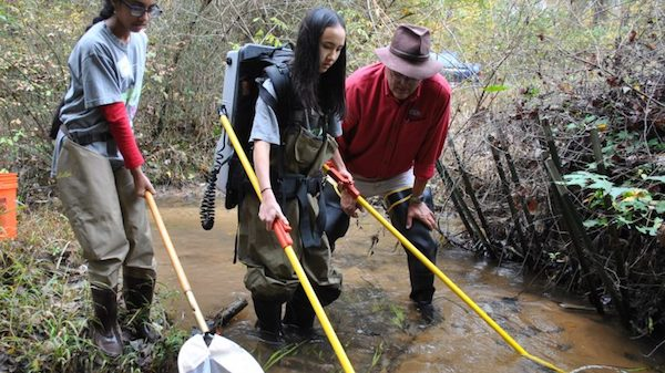 Srujana Murthy (left) and Claire Cizdziel try their hand at electrofishing under the guidance of Scott Knight, director of the UM Field Station, as part of the 'Green is the New Pink' environmental program. UM photo by Pam Starling