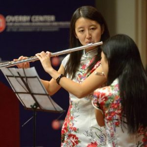 UM students Guangyi Zou and Yin Chang play the Chinese folk music duet 'Molihua' as part of the 2015 International Education Week. This year's observance features demonstrations from Malpaso Dance Company of Cuba, among many other events. Photo by Kevin Bain/Ole Miss Communications