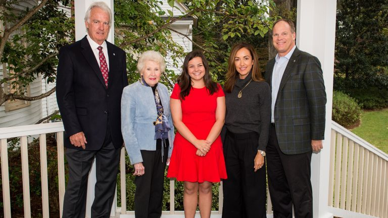 Fundraising for the William Magee Center for Wellness Education has exceeded $900,000, with recent gifts from the Chi Omega sorority , Chi Omega House Corp. and others. James O. 'Joc' Carpenter (left), chair of the UM Foundation Board of Directors, visits with Fannie Elliott, treasurer of the Chi Omega House Corp.; Shelton Wittenberg, president of Tau Chapter of Chi Omega; and Kent and David Magee. UM photo by Bill Dabney