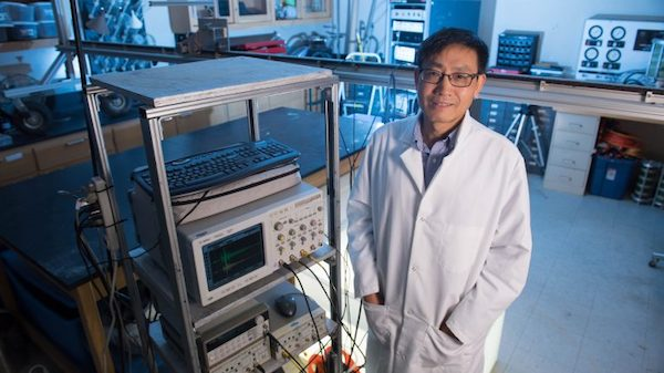 Zhiqu Lu, senior research scientist at the UM National Center for Physical Acoustics, is leading a team working to develop technology to detect leaks in offshore deep-water oil and gas lines and production equipment. Photo by Kevin Bain/Ole Miss Communications