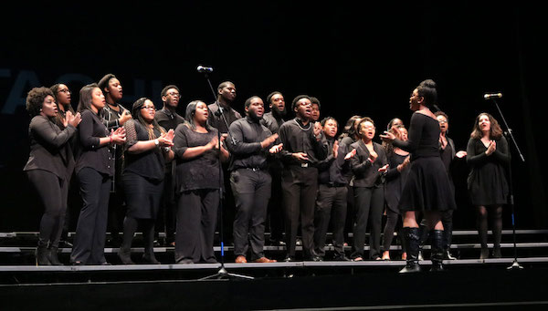 The Grammy Award-winning Gospel Choir performs during the Black History Month opening ceremony. Photo by Logan Connor