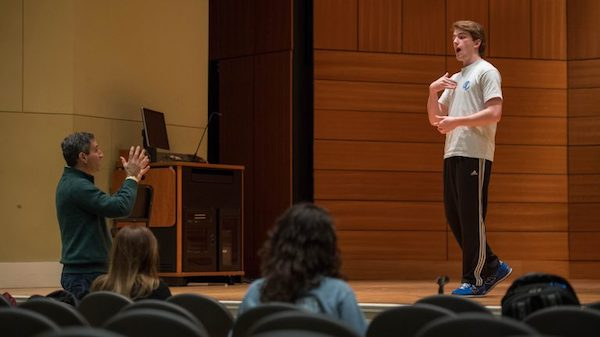 UM theatre arts professor Matthew Wilson, left, instructs Blue Mountain College student William Thompson at the Living Music Resource's inaugural Living Music Institute, an intensive opera aria workshop. Photo by Kevin Bain/University Communications