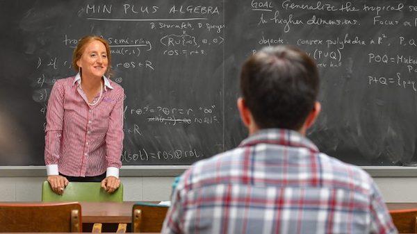 UM mathematics professor Sandra Spiroff explains complex mathematical equations in the classroom. Photo by Robert Jordan/Ole Miss Communications