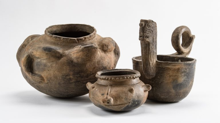 These ceramic effigy vessels are on loan to The Historic New Orleans Collection by UM's Department of Sociology and Anthropology. The vessels are on display through the end of May. Photo by Robert Jordan/Ole Miss Communications