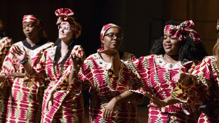 The Ole Miss African Drum and Dance Ensemble performs earlier this year during the 2018 Black History Month Concert. Photo by Thomas Graning/Communications
