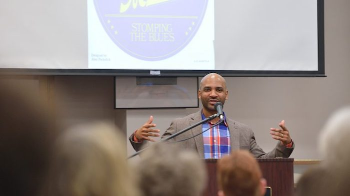 The UM Graduate School has honored creative writing director Derrick Harriell with the Excellence in Promoting Inclusiveness in Graduate Education Award. Photo by Kevin Bain/ Communications