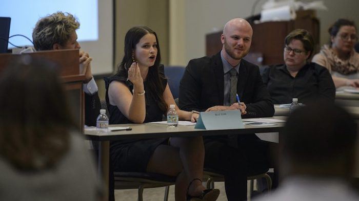 UM Ethics Bowl team member Madison Bandler (second from left), discusses the question, 'Should the standard of sexual consent be an affirmative verbal yes?' during the Great Debate of 2018. Photo by Marlee Crawford/UM Communications