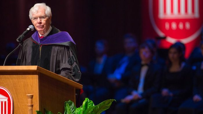 The University of Mississippi honored former U.S. Sen. Thad Cochran with its Mississippi Humanitarian Award Saturday at Commencement. Cochran, who was not able to attend, is shown speaking at Chancellor Jeffrey Vitter's investiture in 2016. Photo by Kevin Bain/Communications