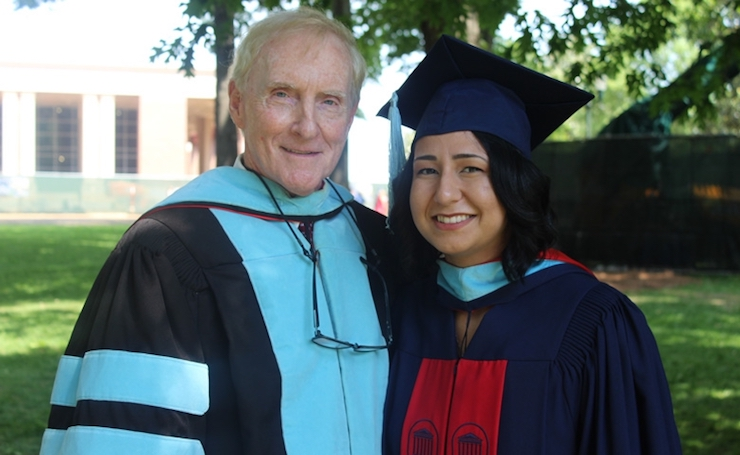 Jessica Muñoz (right), a 2018 graduate of the University of Mississippi, is the third recipient of the Andrew P. Mullins Jr. (left) Mississippi Teacher Corps Alumni Scholarship.