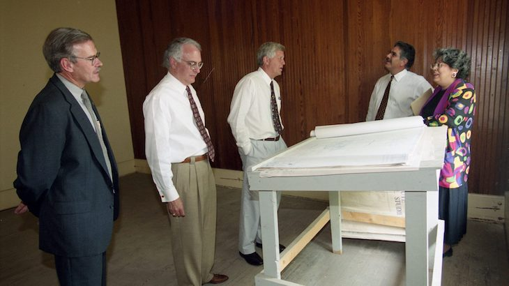 Before the Croft Institute for International Studies called the 'Y' Building, or the old chapel, home, the building, constructed in 1853, underwent about a $3.5 million renovation funded by the Joseph C. Bancroft Charitable and Educational Fund. In June 1998, the Croft board of directors toured the ongoing renovations with Chancellor Robert Khayat (third from left), Provost Carolyn Staton (right) and others.
