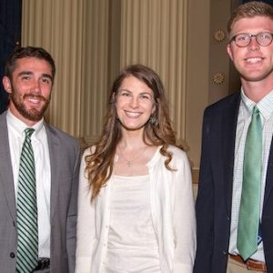 Three recent graduates of the University of Mississippi (from left), Cal Wilkerson, Alison Redding and Kaleb Barnes, have been awarded Mississippi Rural Physicians Scholarships.