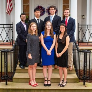 The 2018 cohort of Stamps Scholars at UM is: (front row, from left) Grace Dragna, Grace Marion and Valerie Quach, and (back row) Shahbaz Gul, Jeffrey Wang, Gregory Vance and Richard Springer. Photo by Bill Dabney