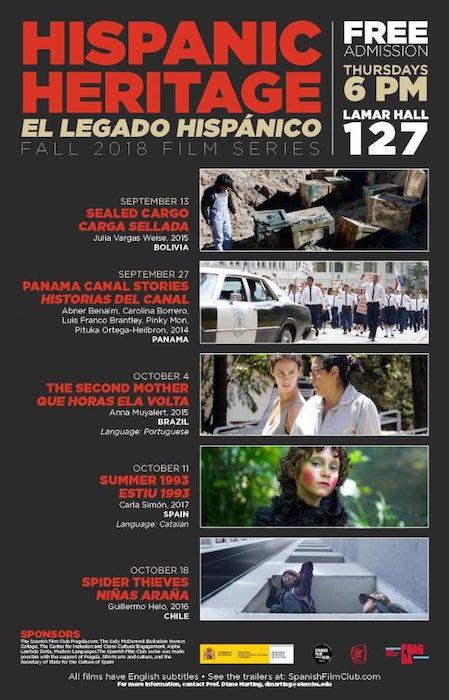 The University of Mississippi Department of Modern Languages' Hispanic Heritage Series films. The series is part of Hispanic Heritage Month, which runs Sept. 13-Oct. 15.