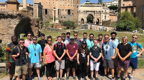 The Mississippians pause for a group photo at the ruins of the Forum in Rome. The group includes (front row, from left) Asher Mitchell, Max Warren, Courtney Wells, Tyler Hewett, Billy Roberts, Alicia Venchuk, Ryne Anderson, Michael Worthy and Gabe Ackermann, and (back row) Lazarrus Miller, Kyle Dozier, Jesse Gibens, Brady Bramlett, Jamie Geoghegan, Christopher Scott, Kurt Hickey, Aaron Dallaire, Dakota Dooley, Quayshun Shumpert and Liam Mooney.