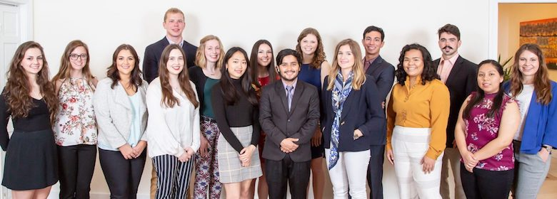 A grant from the Freeman Foundation for a UM student internship program in Eastern Asia has been renewed for 2019. Summer intern grantees for 2018 include (front row, from left) Meredith Brown, Tyler Caple, Emily Rodriguez, Emma Scott, Tina Ng, Navodit Paudel, Sydney Bush, Jasmine Nguyen and Lucy De la Cruz, and (back row, from left) David Pfaehler, Jordan Holman, Sarah Liese, Sarah Berry, Mo Karzon, Stewart Eaton and Daria Herasymova. Submitted photo by Joe Worthem