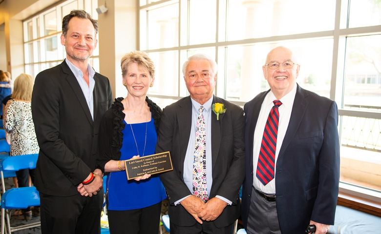 Members of the late Lori Sneed's family – (from left) brother, Johnny; mother, Patti; and father, Shorty Sneed – are joined by honoree Colby Kullman at a recent Ole Miss Women's Council Rose Garden Ceremony. Photo by Bill Dabney