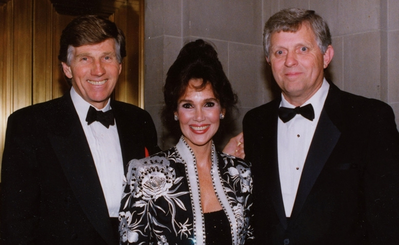 The late Gary Collins and the late Mary Ann Mobley, who passed away in 2012 and 2014 respectively, are pictured with UM Chancellor Emeritus Robert Khayat.