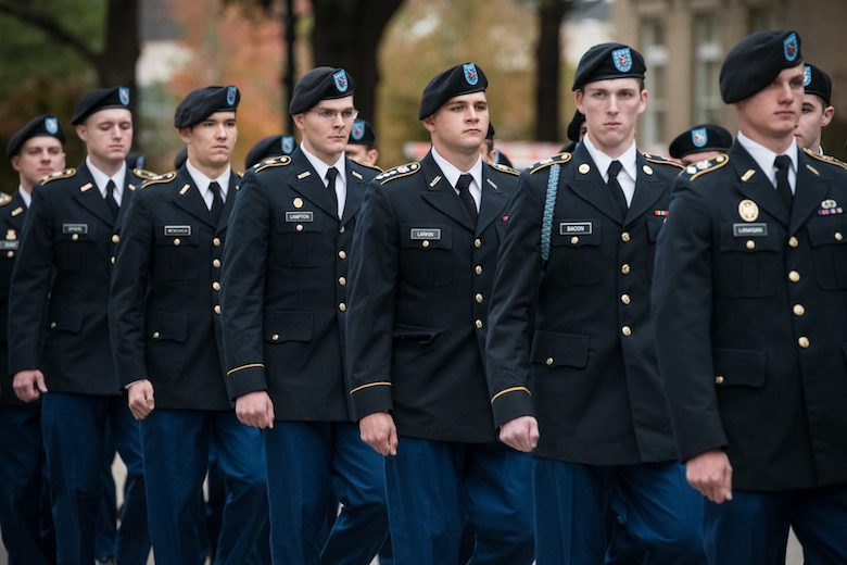 The University of Mississippi's Army ROTC cadets participate in the university's annual Pass in Review, which is held each year in front of the Lyceum. Photo by Megan Wolfe