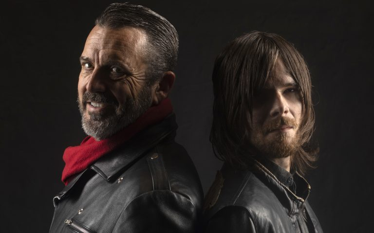 Gene Russell (left) and Nicholas Roylance raise money for the nonprofit Walkers for Warriors by portraying 'Walking Dead' characters Negan and Daryl Dixon, respectively. Roylance is an Ole Miss student majoring in theatre arts.