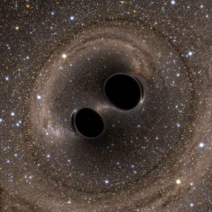 This illustration simulates what an observer might see if he or she were close to a pair of black holes orbiting each other, close to merging. Photo courtesy of SXS Lensing, Simulating eXtreme Spacetimes Collaboration